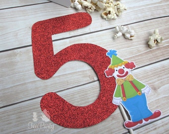 Circus Party Custom Age Number Cake Topper - Under the Big Top Collection