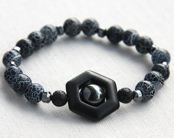 Boho Jewelry Geometric Bracelet Santorini Black Lava Stone Bracelet Boyfriend Gift for him Hematite Bracelet Natural Matte Agate Bracelet