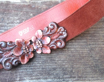 Vintage Boho Belt With Flower Buckle Bohemian Suede Rust Brown Orange Leather