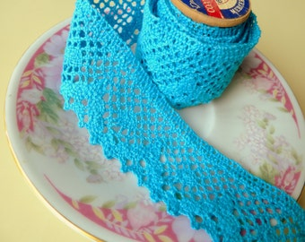 Crochet Trim, Cute Teal Cotton Cluny Lace, Teal Sewing Trim, Bohemian Sewing Trim, Teal Embellishment, 3 Yards 28 inches, LAST