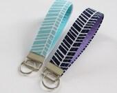 Fabric Keychain, Herringbone Wristlet Keychain, Keyfob in Navy or Aqua - PREORDER