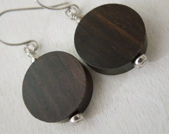 Tiger Ebony Earrings - Dark Brown Round Bead Pendant Earrings Silver French Hook Earwires
