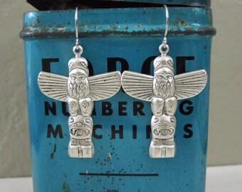 Totem Pole Earrings - Antiqued Silver Totem Pole Pendant Earrings Silver Fish Hooks