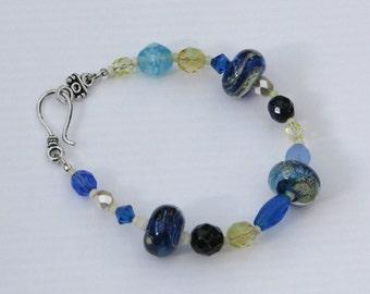 Waters Edge Bracelet - blue sand gold swirl glass unique artisan handmade lampwork bracelet summer vacation sea