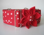 """Red Martingale Collar and Matching Collar Flower, 1.5"""" Martingale Collars, Stars Martingale Collar, Red Stars, Red Dog Collar, Red and White"""