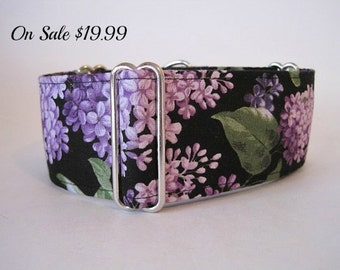 "Purple Martingale Dog Collar, 1.5"" Martingale Collars, Greyhound Martingale Collar, Lilacs, Floral, Greyhound Collar, Lilac Dog Collar"