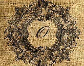 Vintage Wreath Framed Letter O - Download and Print - Image Transfer - Digital Sheet by Room29 - Sheet no. 094O