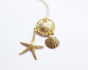 Gold Nautical Necklace Mermaid Jewelry Sand Dollar Charm Starfish Seashell Sea Shell Beach Beachy Ariel Accessories Womens Gift For Her