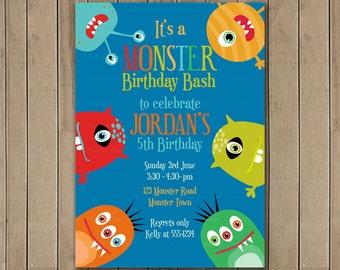 Funny Monster Printable Invitation, DIY Invitation, Birthday Invite, Printable Digital JPG  1132