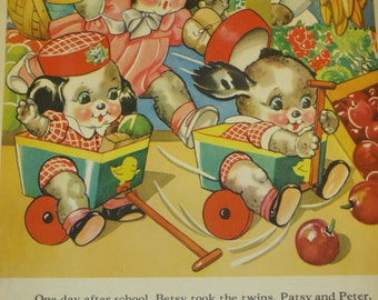 Vintage Ruth Newton Childrens Nursery Rhyme Book Print-Puppies Go Shopping-Book Plate