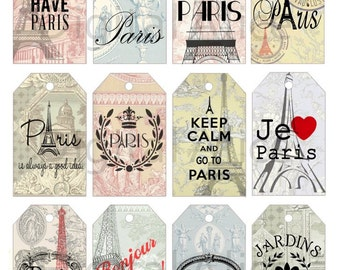 PARIS QUOTES - EIFFEL ToWER Tags - Instant Download Digital Printable tags,cards  - DiY