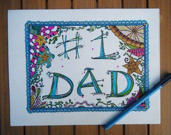 Gift for Dad, Coloring Page - Zentangle Instant Download - Number One Father, # 1 Dad, Dad to be, Activity Sheet to Color, Father Daughter