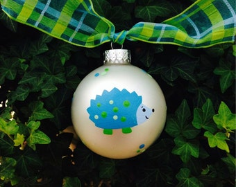 Hedgehog Ornament - Personalized Ornament - Woodland Animal, Hand Painted Bauble, Forest Friend, Baby's First Christmas Ornament, Blue