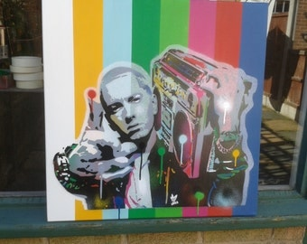 Painting of Eminem,stencil art,spray paint art,canvas 24 by 24 inches,hip hop,rap,music,pop art,rainbow,8 mile,Detroit,America,hand made