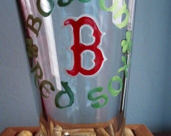 Red Sox Beer Glass Hand Painted With Green Shamrocks Made to Order