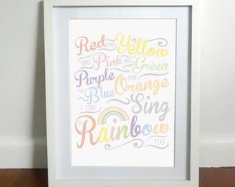 I Can Sing A Rainbow - Nursery Art Printable - Digital Download