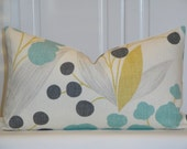 RESERVED - KRAVET - Decorative Pillow Cover - Accent Pillow - Aqua Turquoise - Yellow - Charcoal Grey - Berries - Capparis in Sunshine