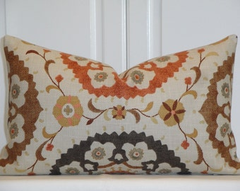 Decorative Pillow Cover - 12 x 20 - Accent Pillow - Throw Pillow - Suzani - Charcoal - Gray - Brown - Orange Rust