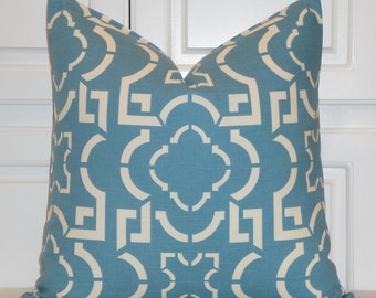 DOUBLE SIDED - Decorative Pillow Cover - Teal Blue Pillow - Trellis Pillow - Lattice - Geometric - Chair Pillow
