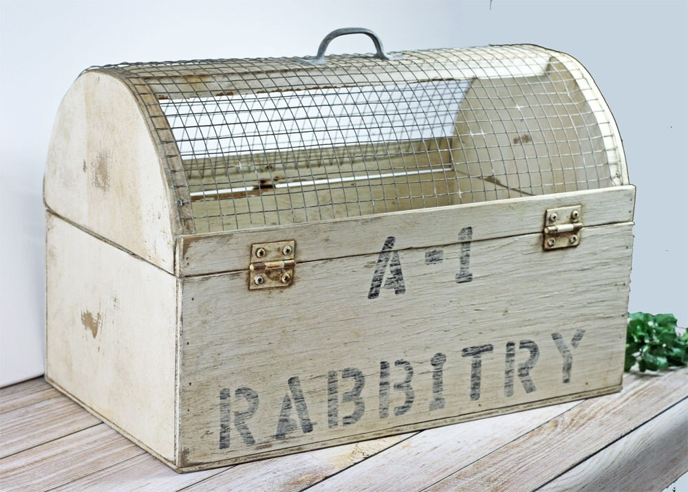 Vintage Wood Pet Carrier Handmade Rabbit Carrier White Rusty