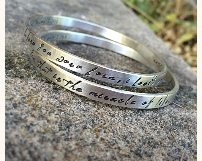 Birth Designs -Set of TWO Heavy Sterling Silver Bangle - Personalized Inside and Outside
