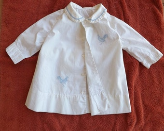 Vintage Baby Sacque,  With Hand Embroidered Rooster