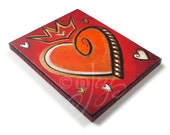 Heart painting, LOVE RULES No.2, 8x10 Acrylic Canvas, Romantic Art, Home Decor