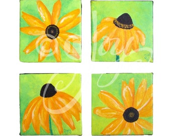 Home Decor Wall Art, BLACK EYED SUSAN set of 4 5x5 Acrylic, Flower painting, wall art for Small Spaces