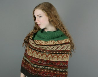 Upcycled Recycled Repurposed Sweater Wrap Shrug Infinity Scarf Tribal Woodland Brown Green Fashion Hipster Boho