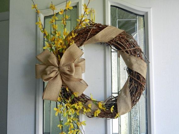 Spring/Summer Wreath, forsythia and burlap bow