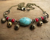Turquoise, Red Coral Necklace, tribal necklace with brass bells, tribal belly dance jewelry