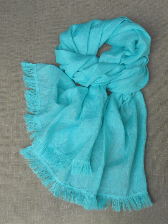 Mint linen scarf long unisex shawl autumn accessories for him and her lightweight bright scarf