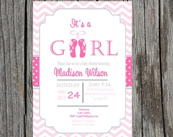 Baby Girl Ballerina Baby Shower Invitation, baby girl, ballet slippers, ballet, dancer, DIY and custom, printable