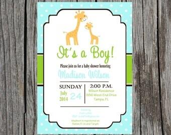 Jungle Baby Shower Invitation, baby boy giraffe baby shower, giraffe invitation, printable version