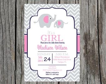 Printed elephant baby shower invitation, baby girl shower, elephants, girl, custom, elephant baby shower