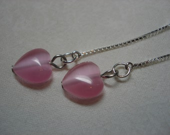 Pink Hearts on Sterling Ear Threads-FREE SHIPPING TO U.S.- Threader Earrings/Necklace