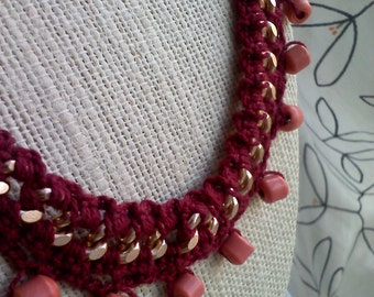 Crocheted and Beaded Chain Necklace