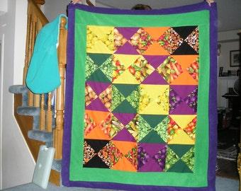 Vegetable Garden Fabric Cotton and Fleece Blanket