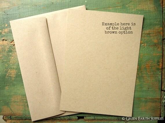 "100 A6 FLAT Cards & Envelopes: Recycled, Rustic Invites, 4 5/8 x 6 1/4"" (117x159mm), kraft or light brown, 65lb, 80lb, 100lb, 105lb or 146lb"