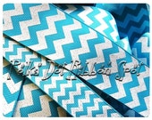 "Turquoise Chevron Glitter ribbon 7/8"" or 1.5"" You Choose Width  grosgrain blow craft supply ribbon- US designer trim"
