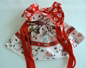 Valentine Fabric Lined Gift Bag with Drawstrings  - Cupid, Bears and Lambs with Red Hearts - Recycle, Reuse, Eco-Friendly