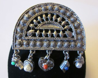 Going Up - Vintage Silver Tone Brooch with 5 Geometric Charms