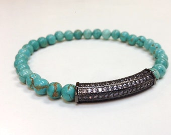 Natural Turquoise Stretchy Bracelet with a Metal Band Encrusted Swarovski Pave Mini Diamonds