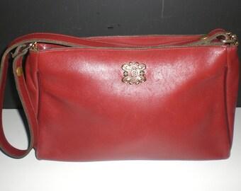 SALE Etienne Aigner Oxblood leather shoulder bag