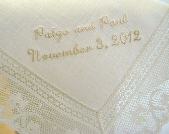 Wedding Handkerchief: Ivory Color Irish Linen Bridal Handkerchief with Bride and Groom's Names and Date
