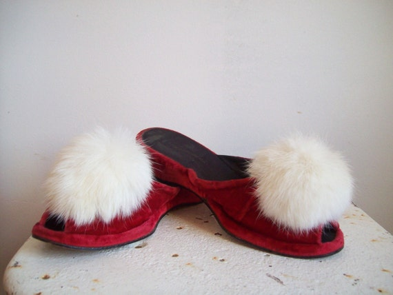 vintage sexy red velvet mules bedroom slippers low heel peep toe with