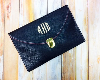 Black Custom Bridesmaid Gift Monogrammed Leather Envelope Clutch