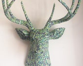 Green Vines Deer Head Wall Mount Faux Taxidermy Grass Earth Nature