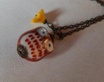 Brown Ceramic Owl Necklace