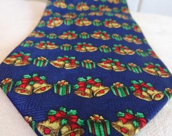 SALE Vintage Mens Neckties tie Christmas Bells
